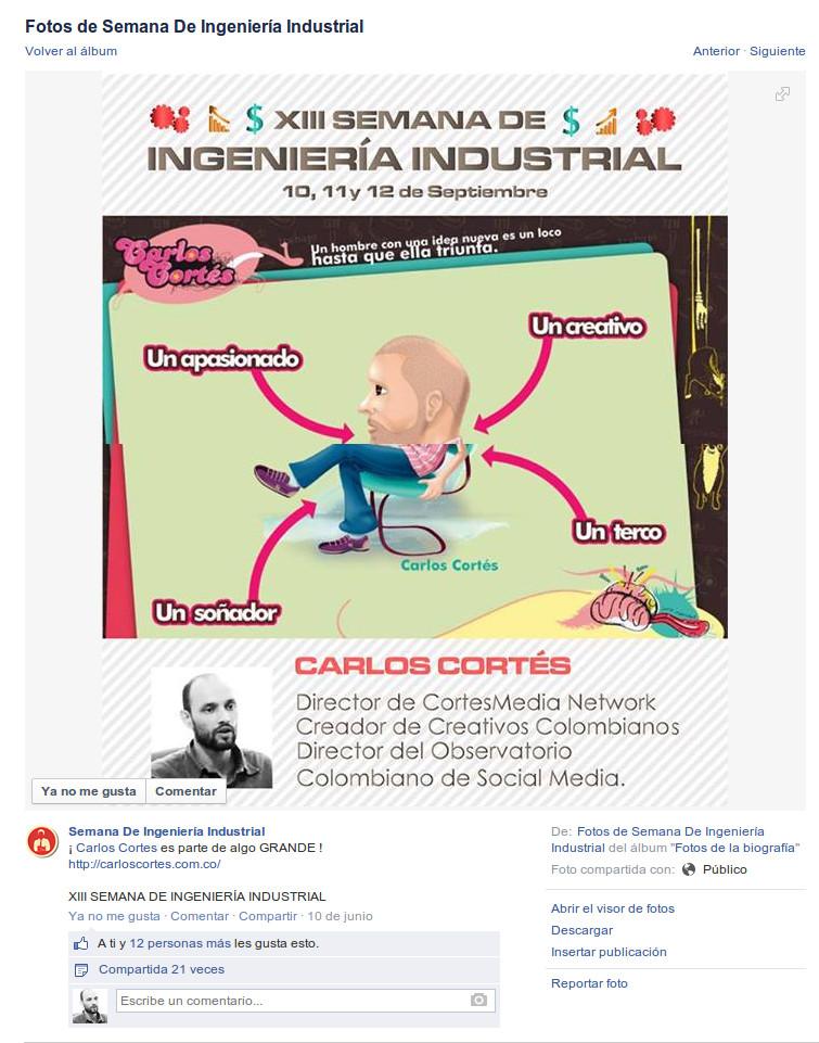 Carlos Cortés en la XII semana de Ingeniería Industrial Aneiap Universidad Nacional Colombia