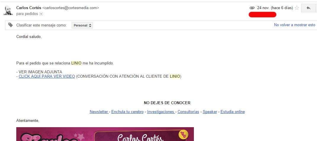 Email enviado a Linio
