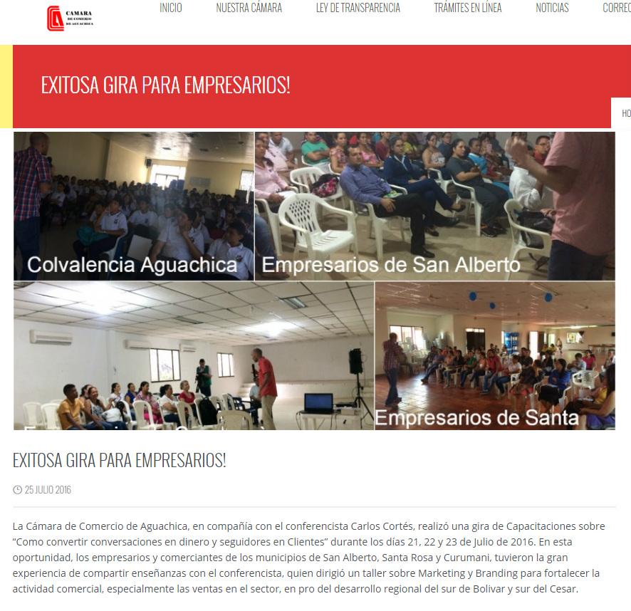Carlos Cortes capacitando empresarios en marketing y branding camara de comercio de aguachica