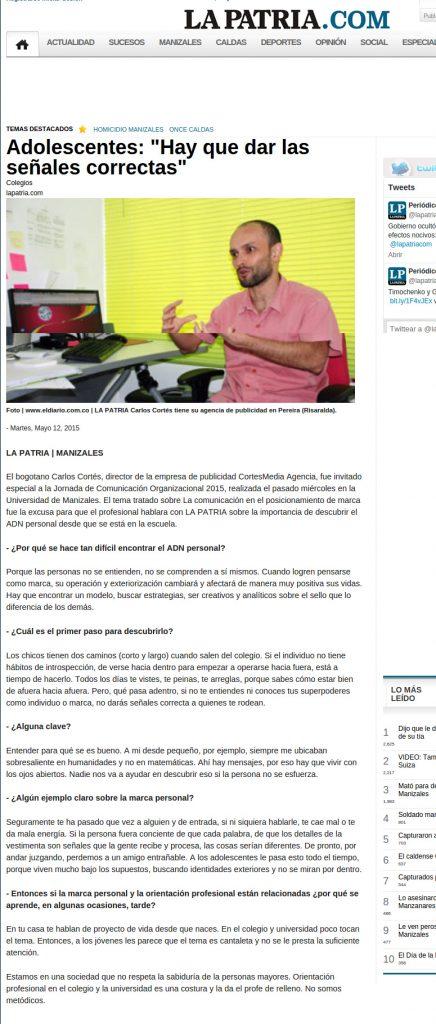 La Patria Manizales Entrevista a Carlos Cortés
