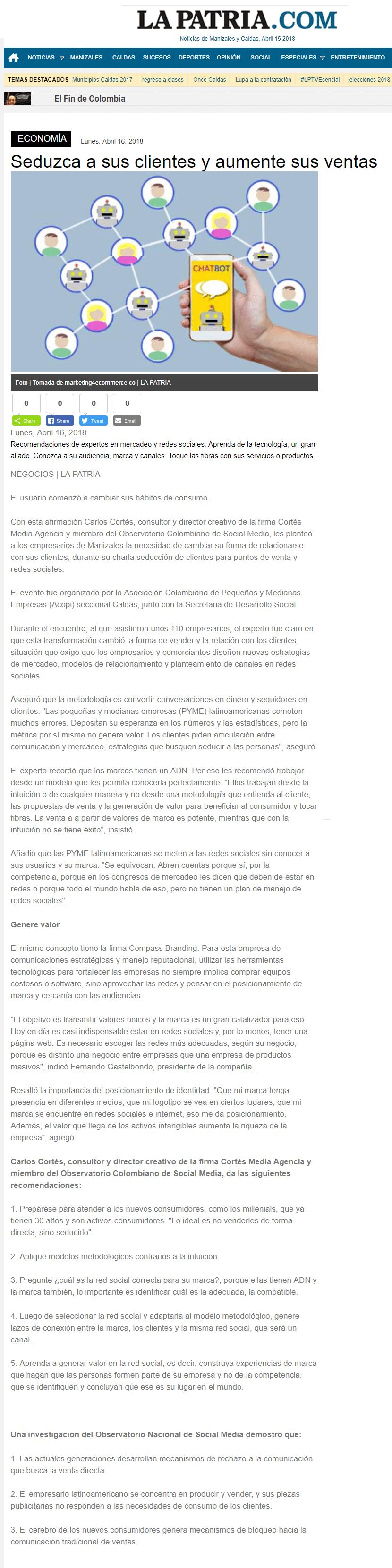La Patria Manizales Seduzca a sus clientes y aumente sus ventas