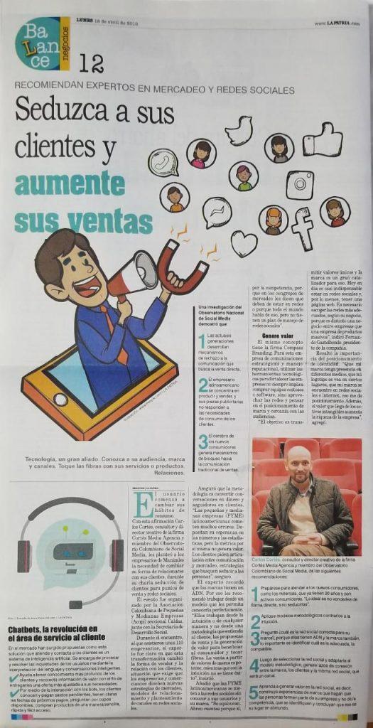 Carlos Cortés en el Periódico La Patria Manizales
