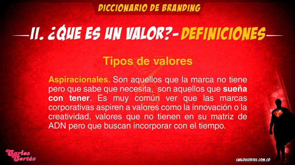 Los valores de marca aspiracionales son muy importantes en el modelo metodológico de la Matriz de ADN de marca de Carlos Cortés