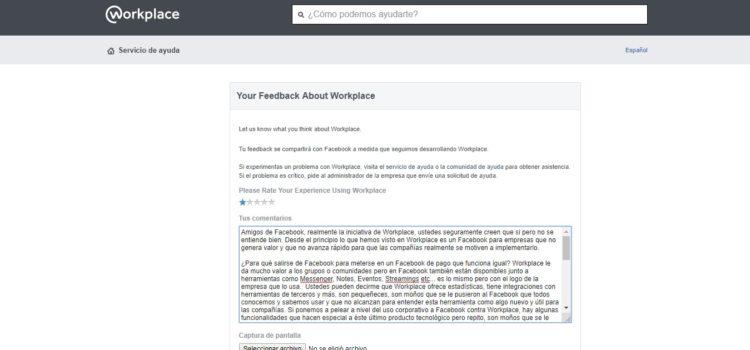 Carta al equipo de Facebook WorkPlace