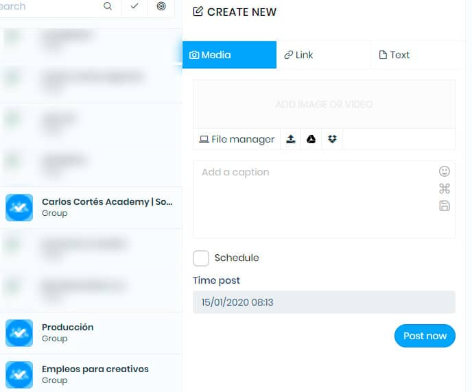 Elegir grupos de FAcebook para publicar al tiempo