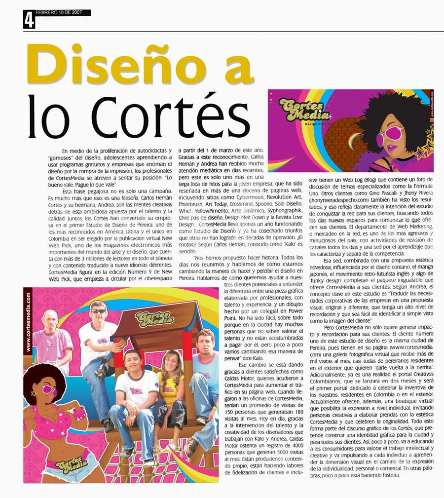 Carlos Cortés en el Periódico La Tarde
