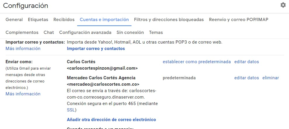 Configurar correo con dominio como predeterminado