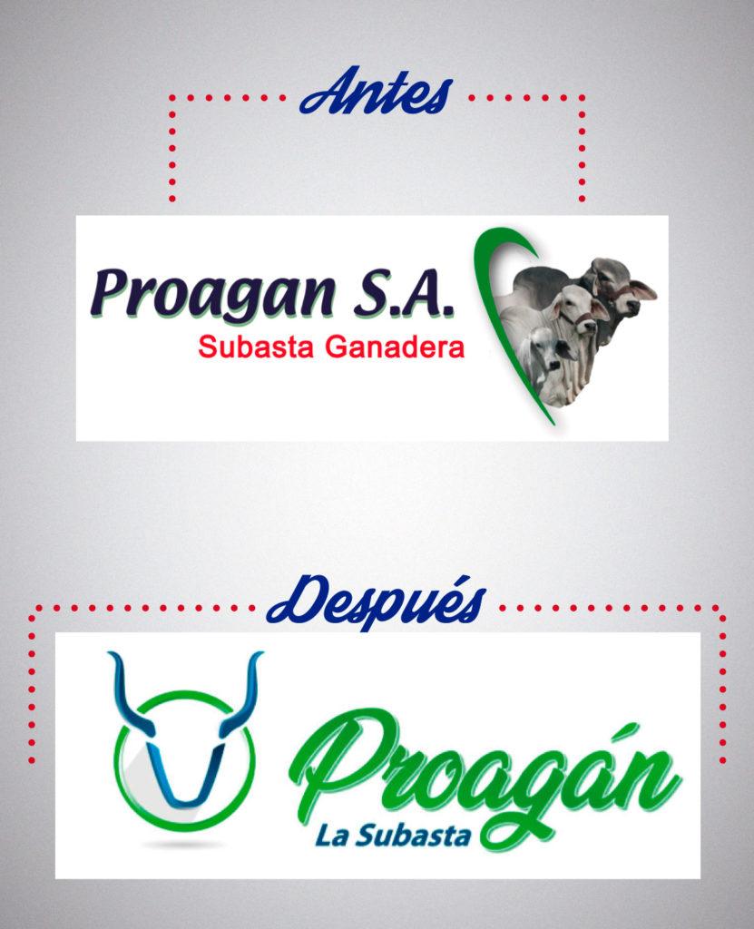 Proagán SA Pereira antes y después logo