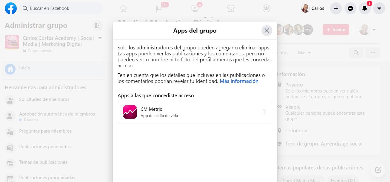 Vinculando una app a un grupo de Facebook