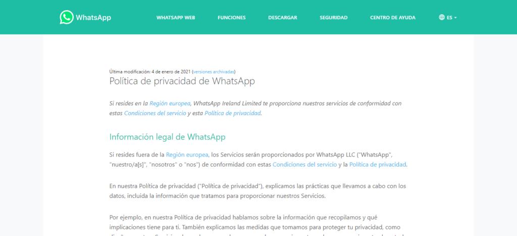 WhatsApp nuevas políticas de privacidad 2021